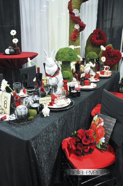 alice in wonderland movie theme wedding reception design