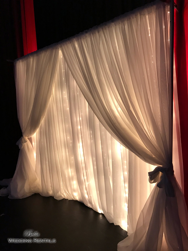 Sheer Curtain with Twinkle Lights Altar