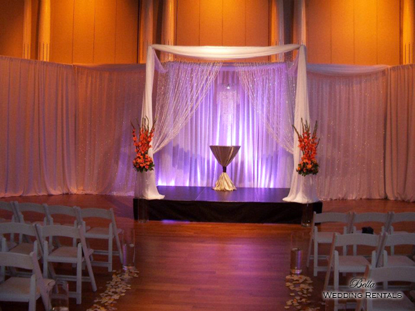 Fabric wedding altar - 4 column w hanging jewels