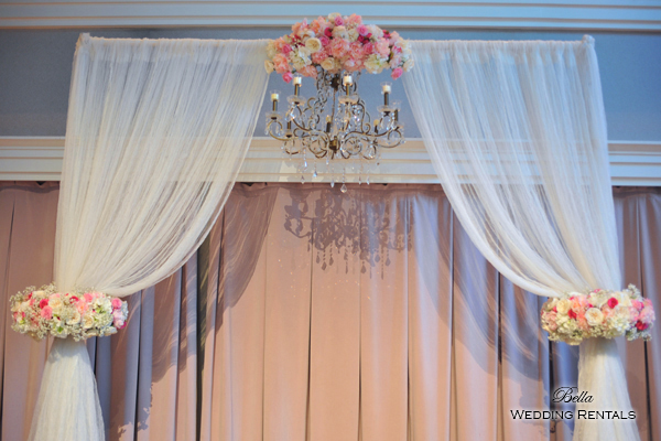 Fabric Wedding Altar w Chandelier