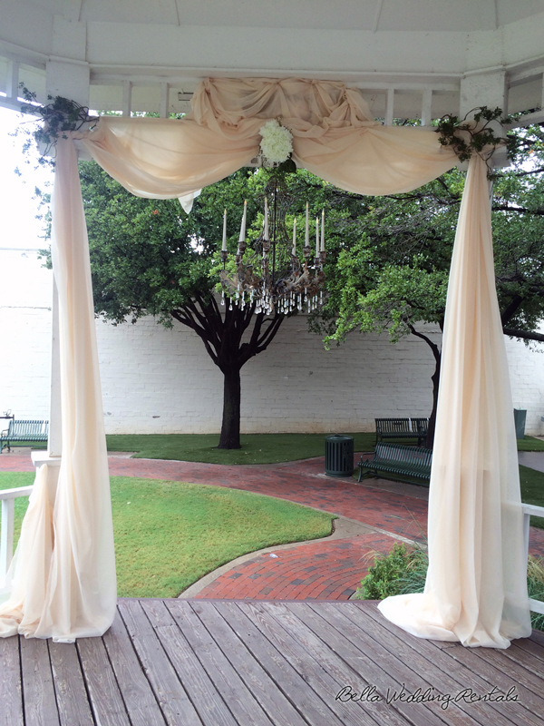 Fabric and Chandelier Wedding Altar