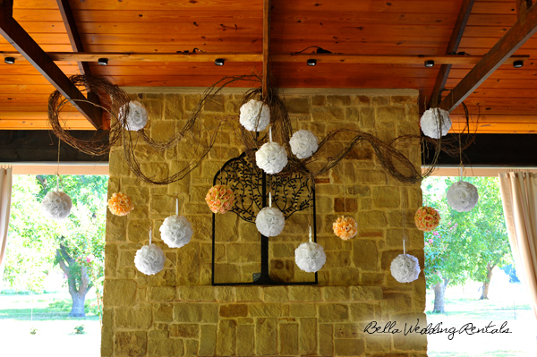 Fireplace with Flower Balls & Grapevine Twirls