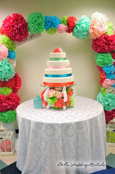 pom pom arch - wedding altar