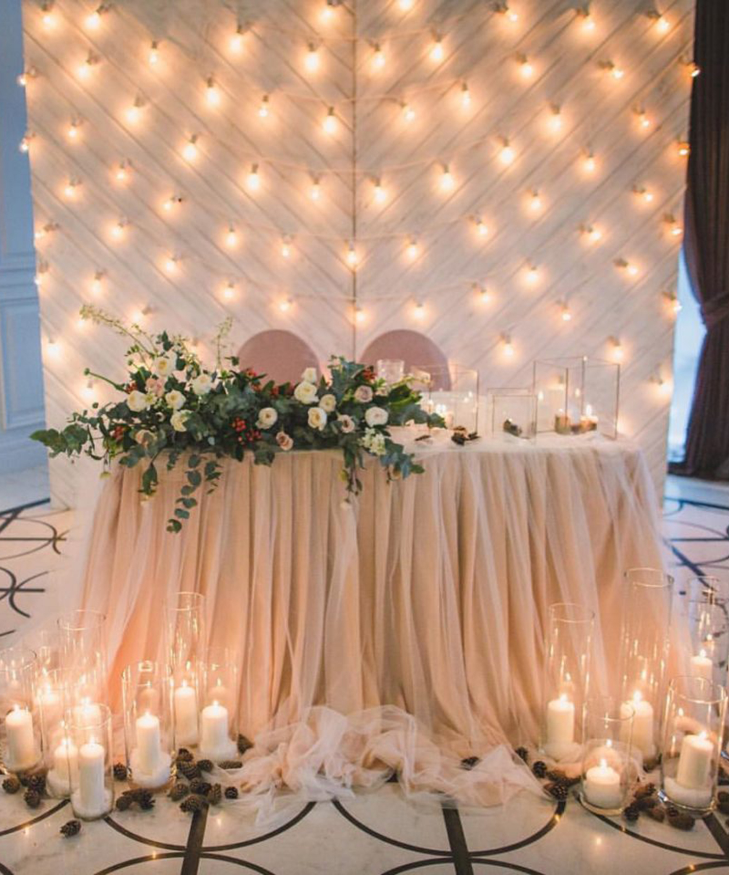 backdrop with edison lights