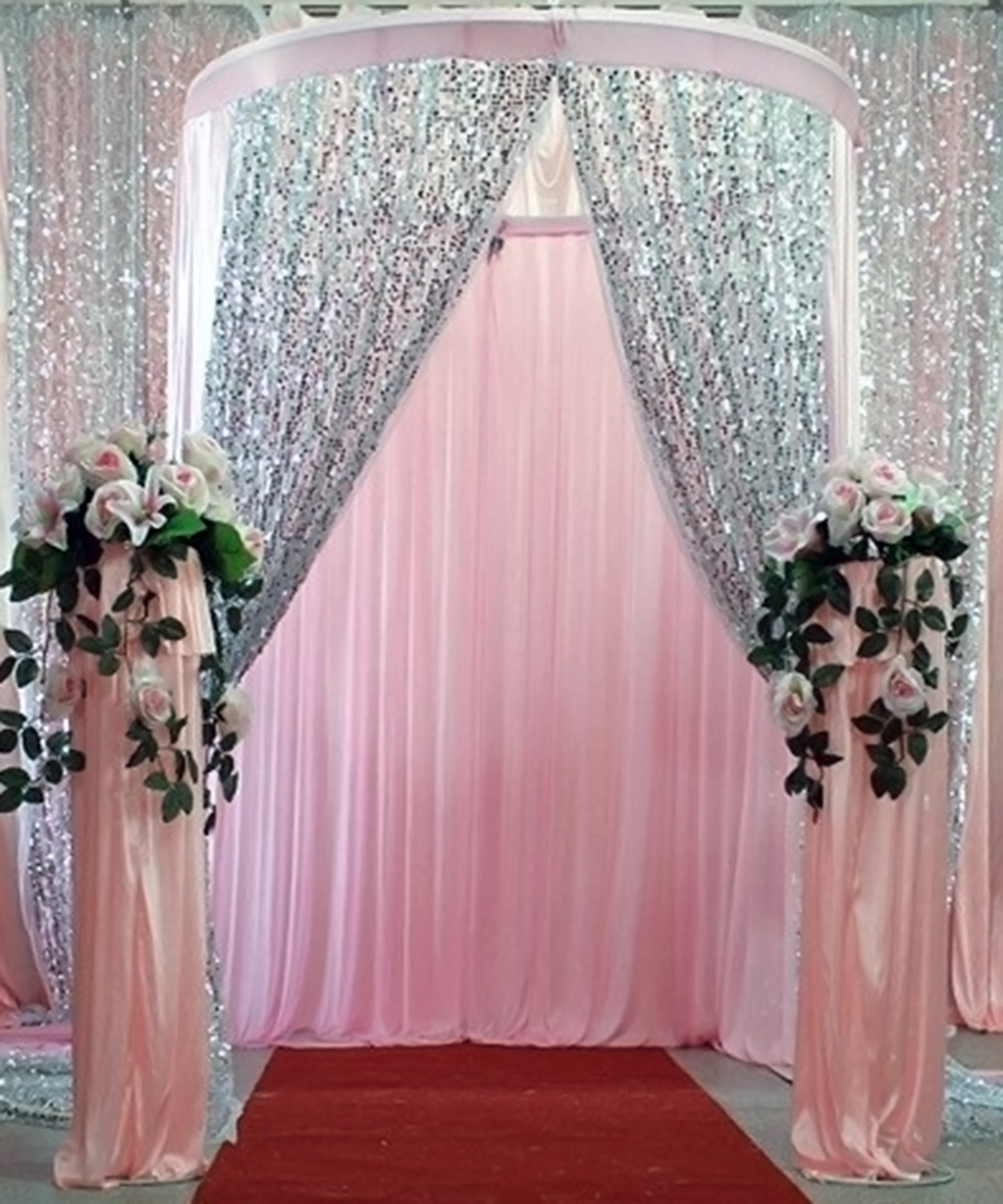 backdrop with curved fabric and sequin fabric accents