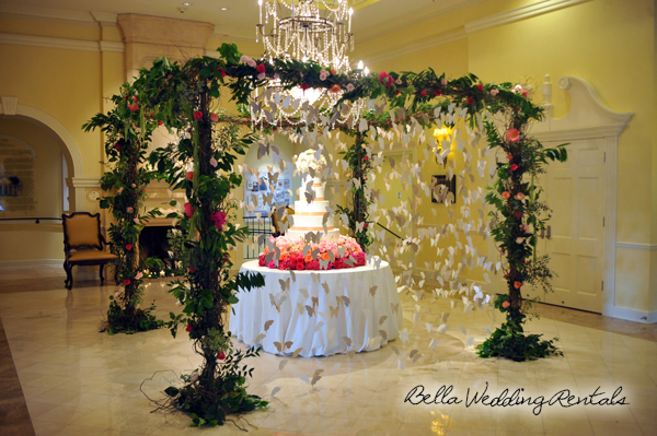 twig wedding canopy - wedding cake