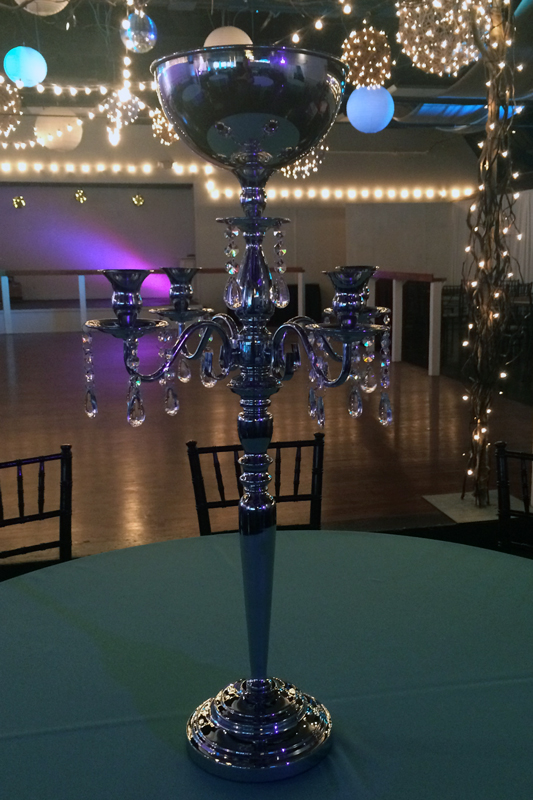 Silver Jeweled Candelabra with Bowl