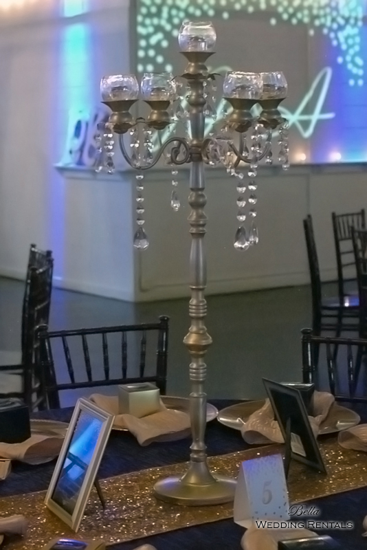 Champagne Jeweled Candelabra