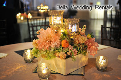 Wedding Reception Centerpieces - Wedding Centerpiece Rentals - Guest on flower table runner, flower chair covers, flower ball rentals, lighting rentals,