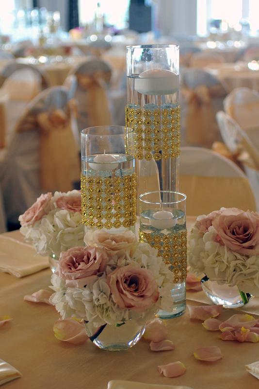 Glass centerpiece wedding rentals