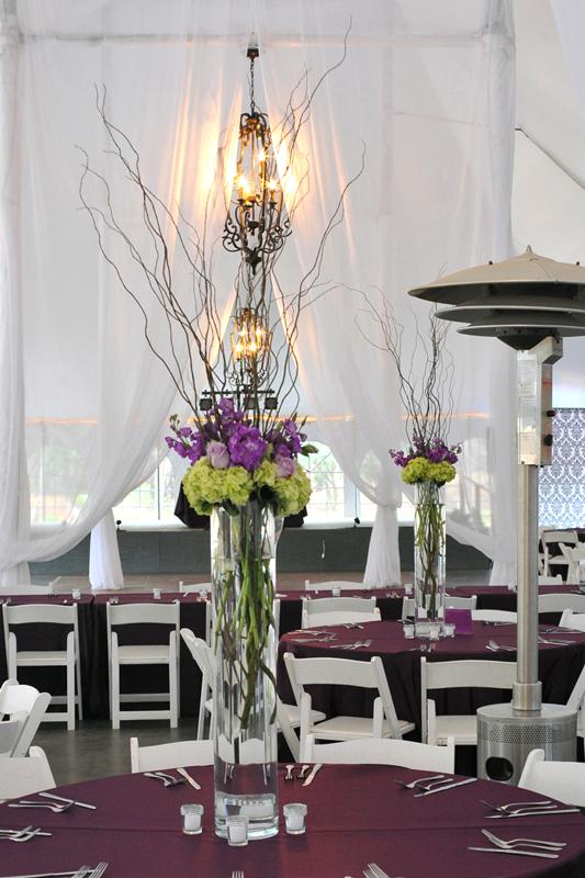 Glass centerpiece wedding rentals
