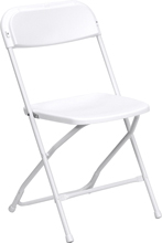 white metal folding chair