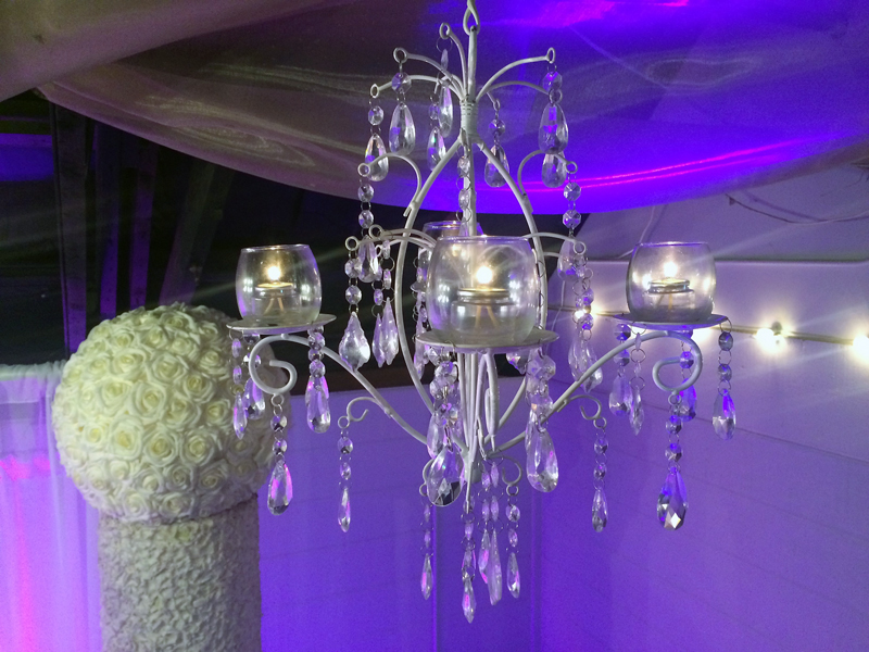 White Metal Jeweled Chandelier