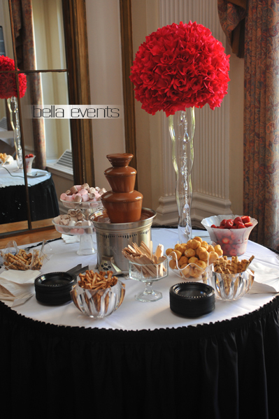 Chocolate fountain in wedding
