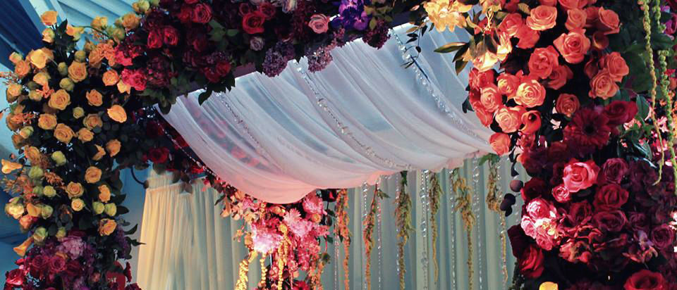 Chuppah Ceiling - lots of flowers and jewels