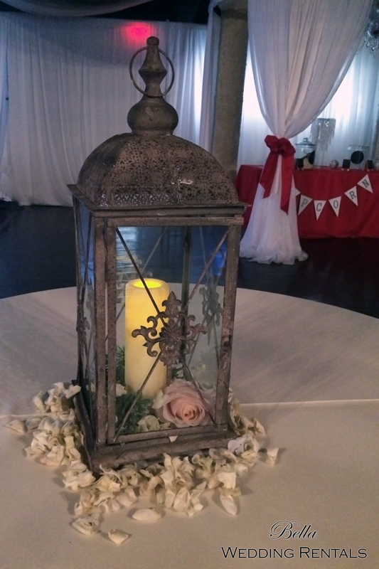 decorated rustic wedding coach lantern