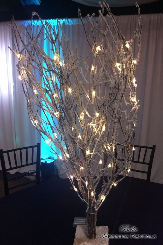 Lighted Flocked Wood Tree