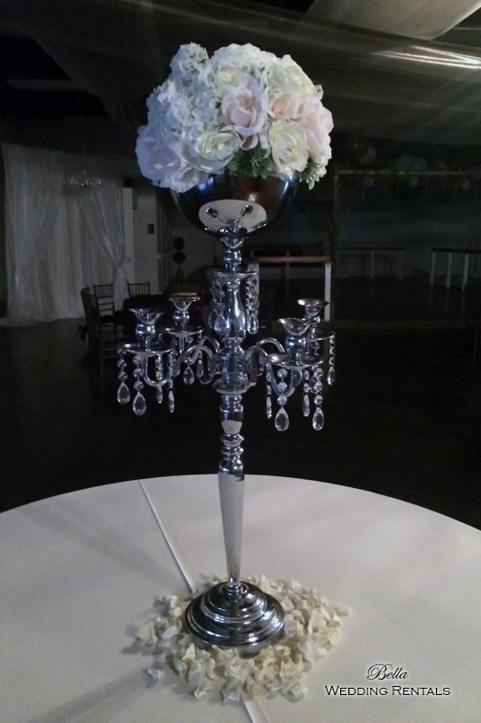 Silver Jeweled Bowl Candelabra