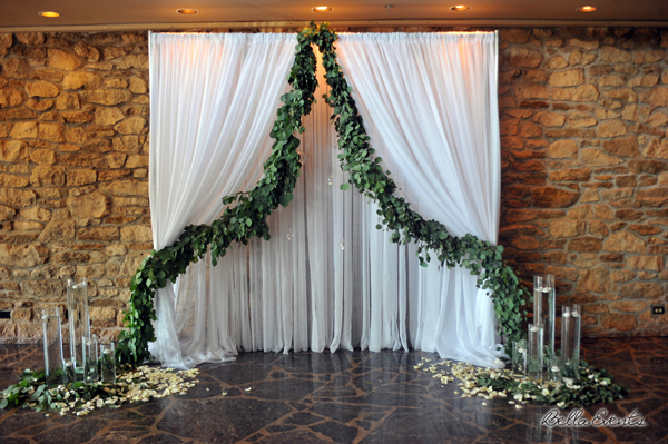 Head Table Design with eucalyptus garland
