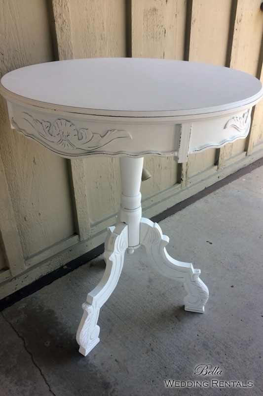 Vintage Round White Pedestal Table