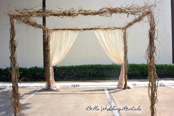 Twig Arch with fabric
