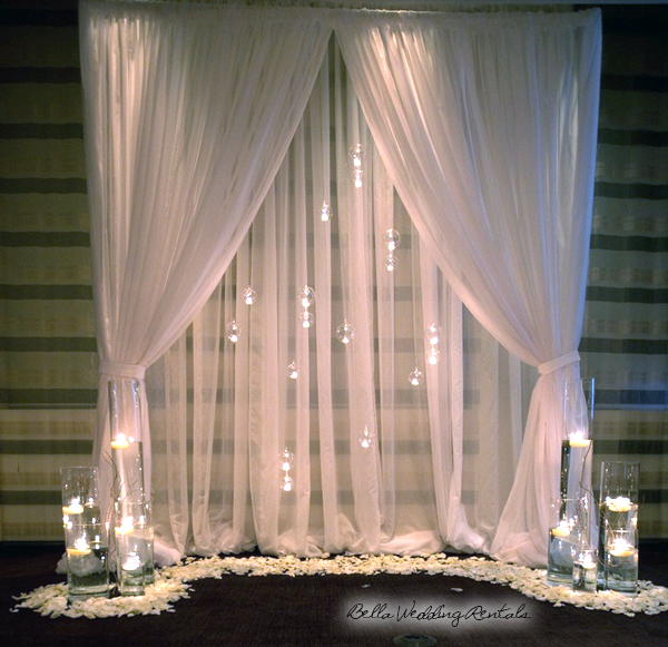Sheer Curtain with Glass Orbs with Lighting Altar